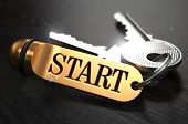 picture of start over  - Keys and Golden Keyring with the Word Start over Black Wooden Table with Blur Effect - JPG