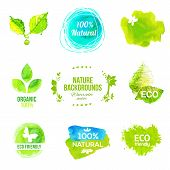 picture of food label  - Vector watercolor eco friendly product labels set - JPG