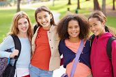 foto of 11 year old  - Group Of Young Girls Hanging Out In Park Together - JPG