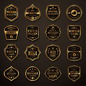 Set of Retro Gold and Black Premium Quality Badges and Labels. poster