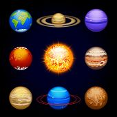 foto of earth mars jupiter saturn uranus  - illustration a set of eight planets of solar system with sun - JPG