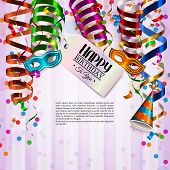 stock photo of birthday hat  - Vector birthday card with colorful curling ribbons - JPG