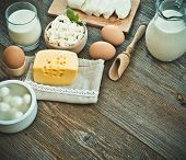 image of milk products  - milk products on old wooden table - JPG