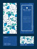 stock photo of swirly  - Vector blue green swirly flowers vertical frame pattern invitation greeting - JPG