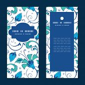 pic of swirly  - Vector blue green swirly flowers vertical frame pattern invitation greeting cards set graphic design - JPG