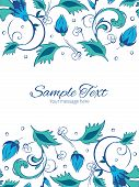 foto of swirly  - Vector blue green swirly flowers vertical double borders frame invitation template graphic design - JPG