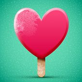 pic of  realistic  - Pink chocolate heart shaped freeze ice cream realistic bright 3d vector icon - JPG