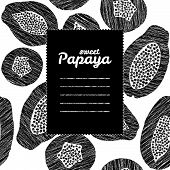 foto of pawpaw  - Text frame with papaya background - JPG