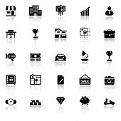 foto of asset  - Asset and property icons with reflect on white background stock vector - JPG