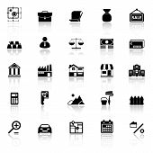 picture of deed  - Mortgage and home loan icons with reflect on white background stock vector - JPG