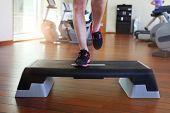 stock photo of step aerobics  - Step aerobics - JPG