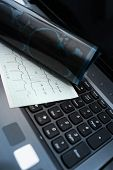 image of diagnostic medical tool  - Tools of medical examination on the keyboard concept - JPG