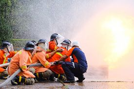 image of firefighter  - the Firefighters training exercise with the fire - JPG