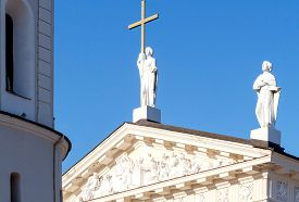 stock photo of stanislaus church  - Sculptures on the roof of the Cathedral of St - JPG
