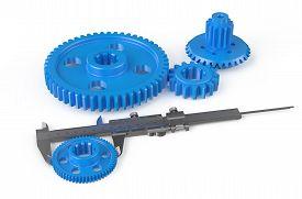 stock photo of vernier-caliper  - vernier caliper with plastic gearwheels isolated on white background - JPG