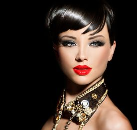 stock photo of gothic hair  - Beauty Fashion Model Girl with short hair - JPG