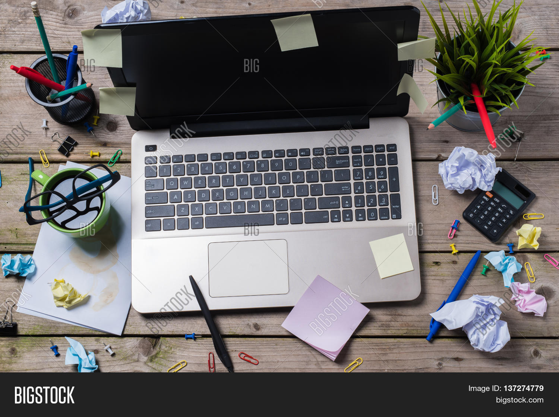 Overhead Shot Messy Office Desk Image Photo Bigstock