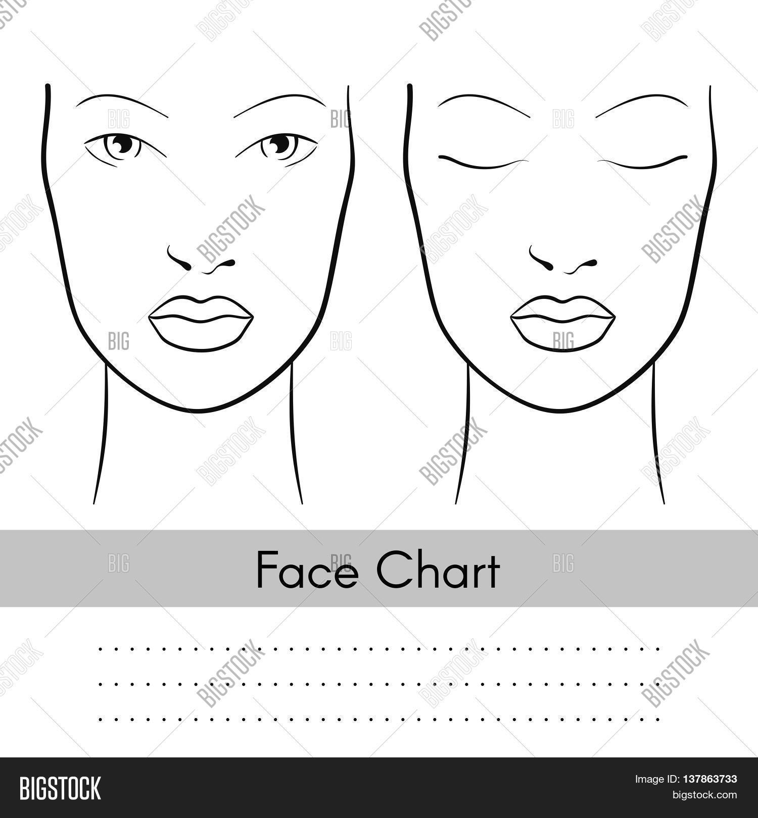 vector beautiful woman face chart portrait female face with open and closed eyes blank. Black Bedroom Furniture Sets. Home Design Ideas