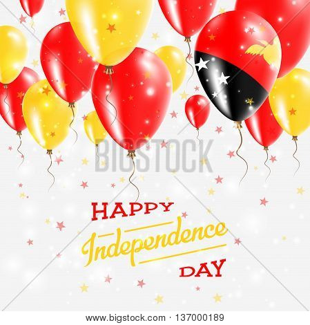 Papua New Guinea Vector Patriotic Poster. Independence Day Placard With Bright Colorful Balloons Of