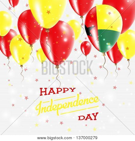 Guinea-bissau Vector Patriotic Poster. Independence Day Placard With Bright Colorful Balloons Of Cou
