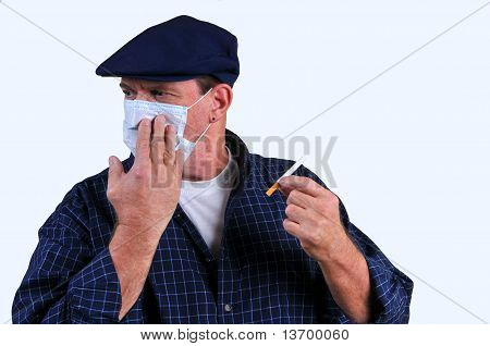 Man turning away from cigarette