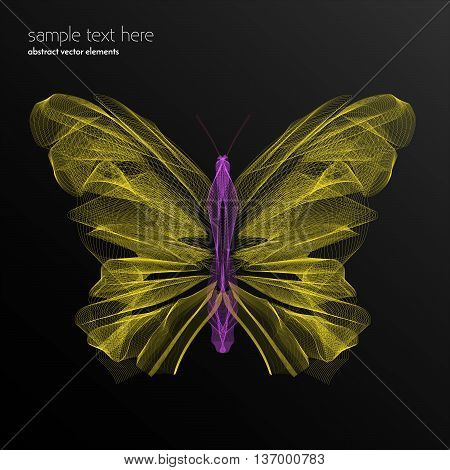 Vector abstract waves and lines background. Curvy design element. Butterfly made with blend effect. Desktop wallpaper.