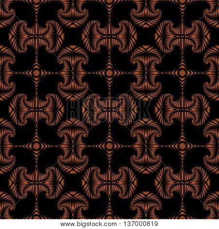 Abstract deluxe seamless pattern with bronze decorative ornament on black background