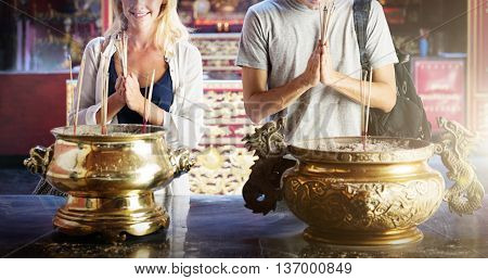 Garland Ceremony Pray Respect Holy Concept