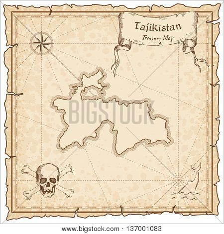 Tajikistan Old Pirate Map. Sepia Engraved Template Of Treasure Map. Stylized Pirate Map On Vintage P