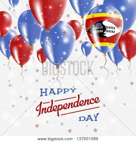 Swaziland Vector Patriotic Poster. Independence Day Placard With Bright Colorful Balloons Of Country