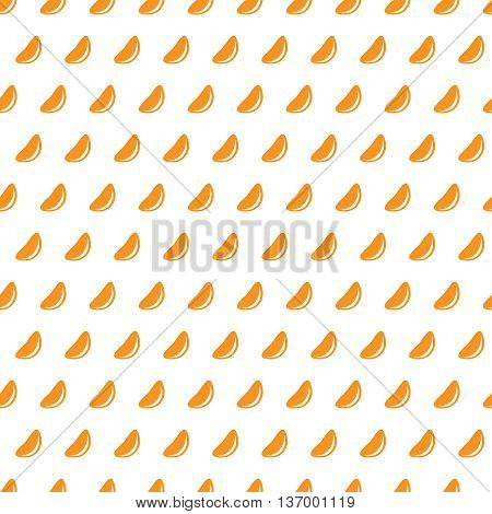 Mandarine slices on a white background seamless pattern. Tangerine pieces ordered and repeated periodically.