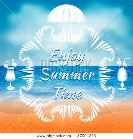 Abstract summer background of beach and sea elements with white decorative frame umbrella and cocktail glasses. Enjoy summer time title. Summer background vector illustration