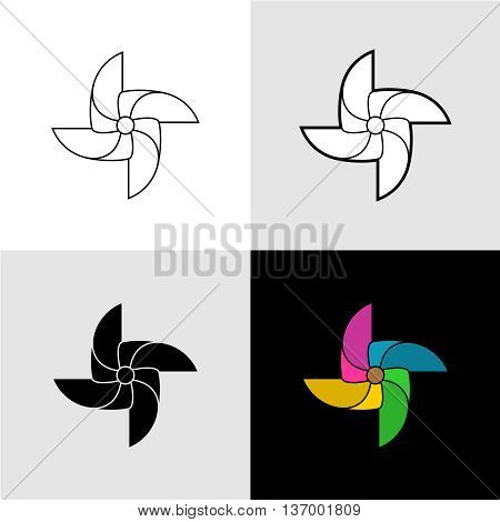 Pinwheel vector silhouette logo illustrations. Set of flat color black solid and outline versions.