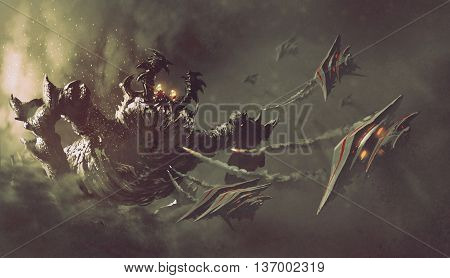 battle between spaceships and monster, sci-fi concept illustration painting