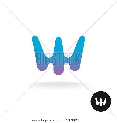 Abstract style letter W logo. Trident shape silhouette.