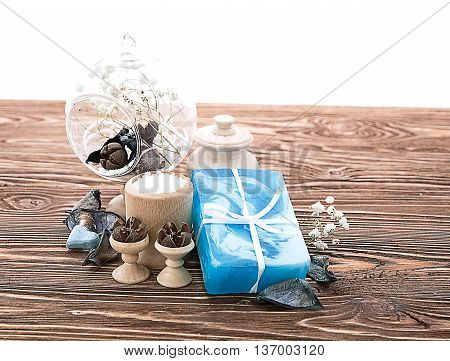 soap and spa stuff on wooden background
