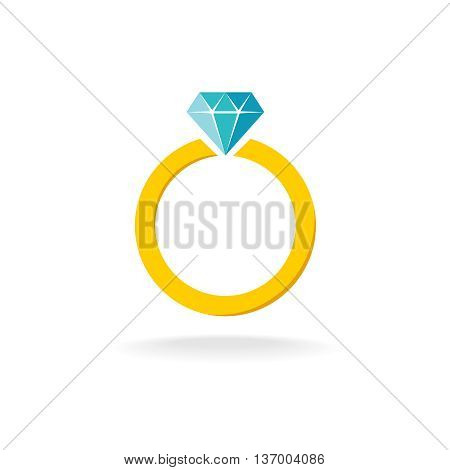 Wedding engagement ring simple color symbol with diamond jewelry.