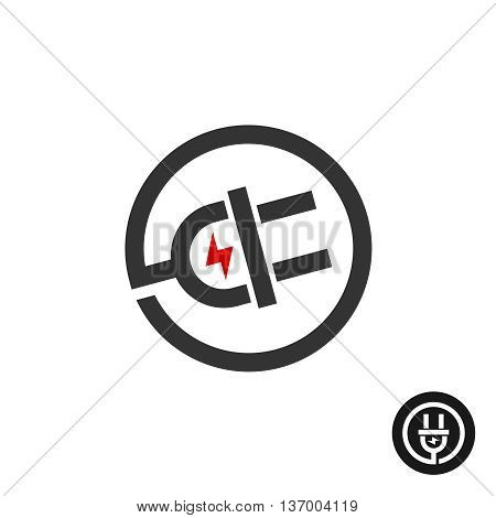 Electric plug in wire icon. Power source logo with flash electricity lightning mark.