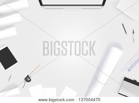 Creative designer desk with blank paper whatman mockup. Showing design presentation on artist workplace mock up. Developer table surface with creativity equipment. Business space workshop draft desk.