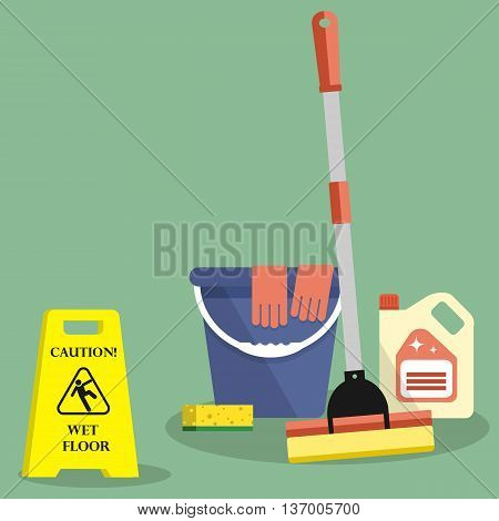 Cleaning time concept. Flat illustration. There is a