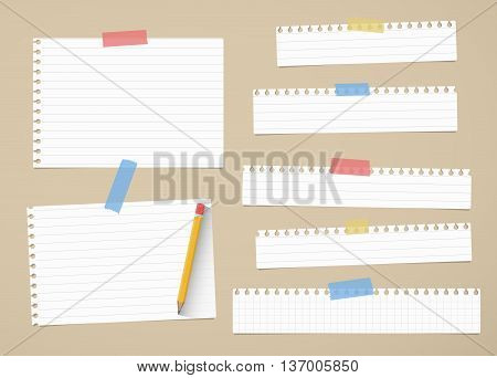 Pieces of cut out white ruled and grid notebook paper are stuck on brown background with yellow pencil.