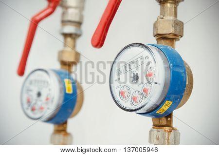 Sanitary Equipment. Pair Of Meters Of The Water
