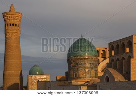 Poi Kalon Mosque and minaret in Bukhara, Uzbekistan.