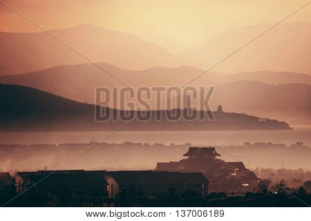 Mountain silhouette abstract at sunrise in Dali in Yunnan, China.