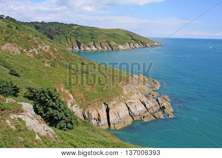 Cliffs of the South Devon coast in England