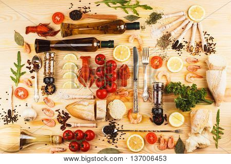 Silverware With Spices, Cherry Tomatoes And Cancers