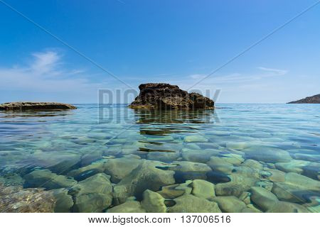 Clear water of the coastline of Gozo Malta perfect for swimming