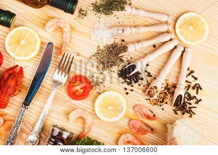 Different Spices And Silverware Between Different Food Products