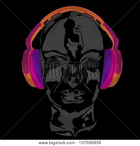 Concept music. An abstract vector for man relaxing and listening music with headphones. Realistic art design of object with highlights and shadows. Artistic handdraw design. Monochrome
