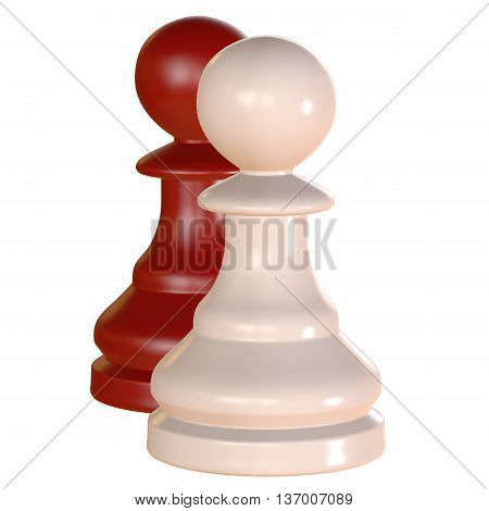 Isolated Chess Figurine 3D Illustration